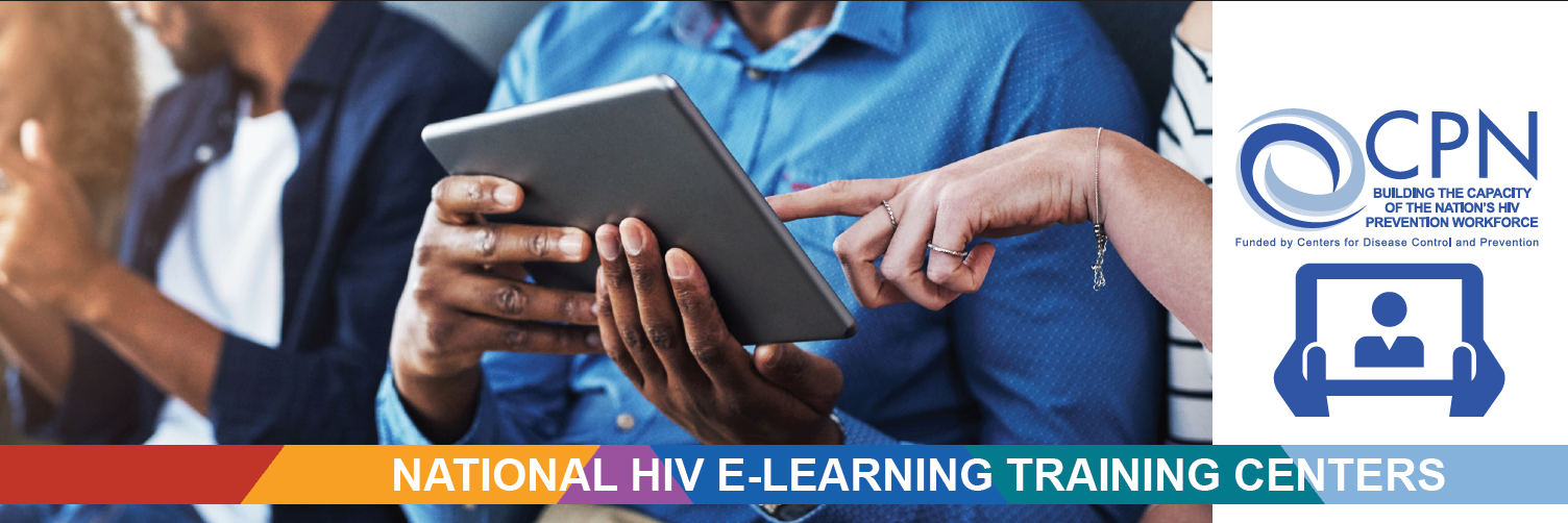 Picture of people learning from a tablet, CPN National HIV E-Learning Training Centers